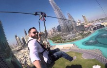 Zip line thrills at Dubai Mall Downtown