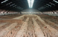 Terra Cotta Warriors and Horses with Ancient City Wall