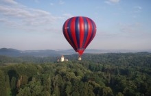Hot Air Balloon Flight Over Wonderful Nature Around Prague