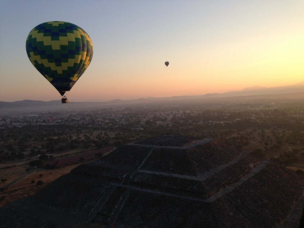 Hot Air Ballon At The Pyramids Of Teotihuacan (Mexico City)