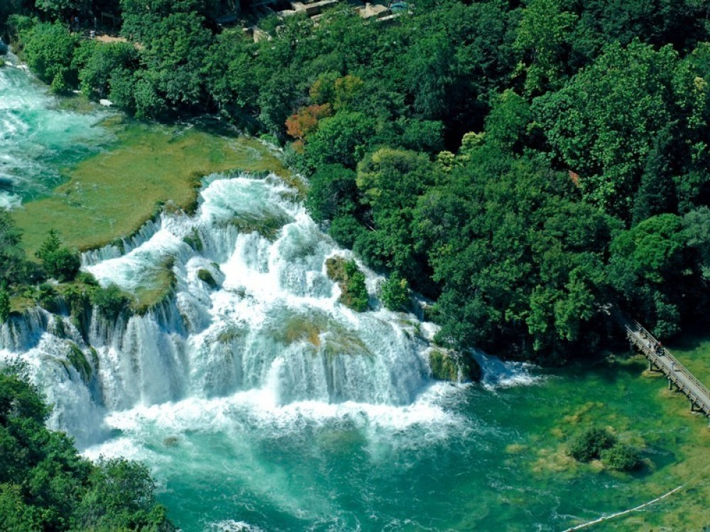 Krka waterfalls and town of Skradin