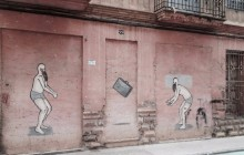 Small Group Street Art In Old Valencia